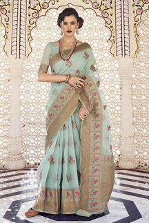 Picture of Charming Sea Green Designer Fancy Wear Karaft Linen Saree