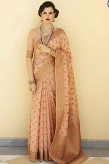 Picture of Peach Designer Fancy Wear Karaft Linen Saree