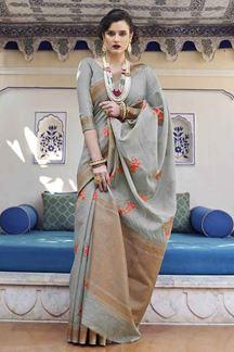 Picture of Demanding Grey Designer Fancy Wear Karaft Linen Saree