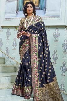 Picture of Navy Blue Designer Classic Paithani Silk Saree