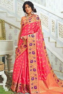 Picture of Pink Designer Classic Paithani Silk Saree