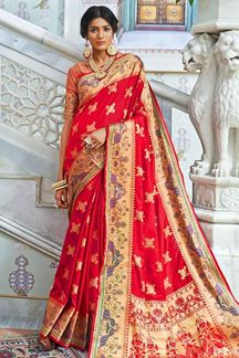 Picture of Red Designer Classic Paithani Silk Saree