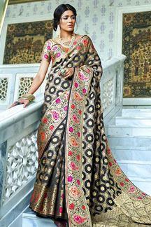 Picture of Black Designer Classic Paithani Silk Saree