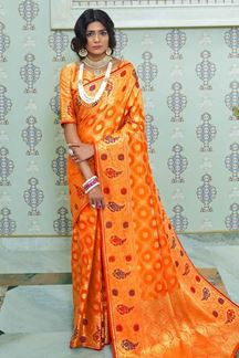 Picture of Orange Designer Classic Paithani Silk Saree