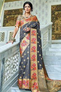 Picture of Grey Designer Classic Paithani Silk Saree