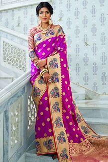 Picture of Magenta Designer Classic Paithani Silk Saree