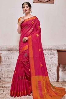 Picture of Pink & Orange Designer Casual Wear Banarasi Cotton Silk Saree