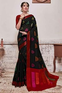 Picture of Black & Maroon Designer Casual Wear Banarasi Cotton Silk Saree