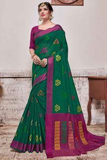Picture of Green & Magenta Designer Casual Wear Banarasi Cotton Silk Saree
