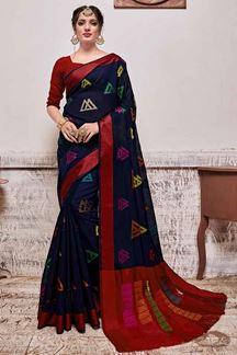 Picture of Navy Blue & Red Designer Casual Wear Banarasi Cotton Silk Saree