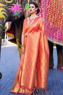 Picture of Traditional Reddish Pink Designer Classic Wear Silk Saree