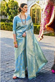 Picture of Beautiful Sky Blue Designer Classic Wear Pure Silk Saree