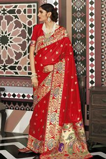 Picture of Festive Red Designer Traditional Wear Pure Silk Saree