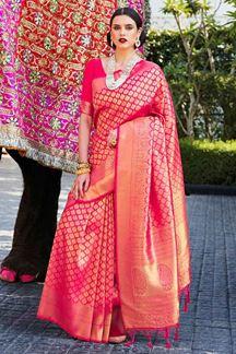 Picture of Attractive Rani Pink Designer Classic Wear Silk Saree