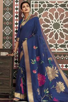 Picture of Authentic Blue Designer Traditional Wear Pure Silk Saree
