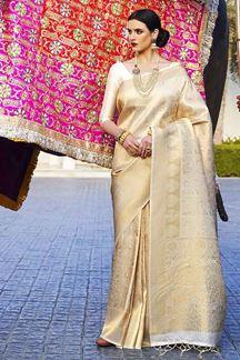 Picture of Glorious Gold- Cream Designer Classic Pure Silk Saree