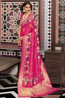 Picture of Refreshing Pink Designer Traditional Wear Pure Silk Saree