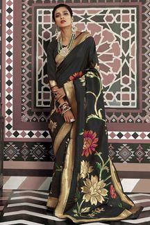 Picture of Impressive Black Designer Traditional Wear Pure Silk Saree