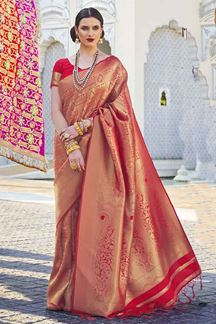 Picture of Entrancing Red Designer Classic Wear Silk Saree