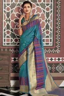 Picture of Magnified Rama Green Designer Traditional Wear Pure Silk Saree