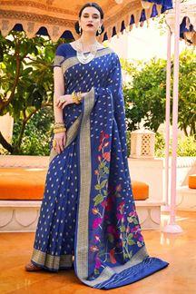 Picture of Dark Blue Designer Party Wear Handloom Weaving Silk Saree