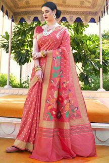 Picture of Rani Pink Designer Party Wear Handloom Weaving Silk Saree
