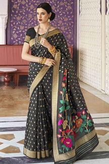 Picture of Black Designer Party Wear Handloom Weaving Silk Saree