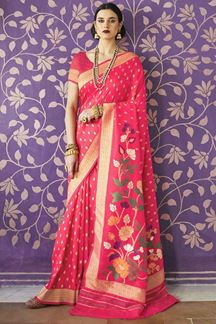 Picture of Rani Pink Designer Party Wear Handloom Weaving Silk Saree