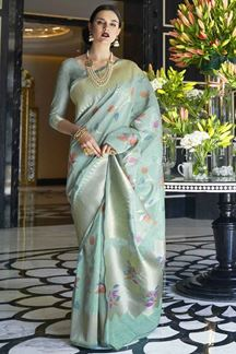 Picture of Latest Designer Sky Blue Karyon Linen Saree