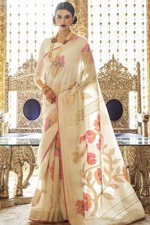 Picture of Latest Designer Cream Karyon Linen Saree