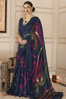 Picture of Latest Designer Navy Blue Karyon Linen Saree