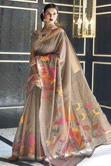 Picture of Latest Designer Brown Karyon Linen Saree