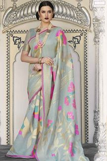 Picture of Latest Designer Sea Green Karyon Linen Saree