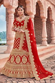 Picture of Red Designer Bridal Wedding Wear Velvet Lehenga Choli