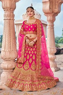 Picture of Pink Designer Bridal Wedding Wear Velvet Lehenga Choli
