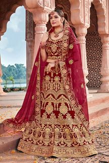 Picture of Maroon Designer Bridal Wedding Wear Velvet Lehenga Choli