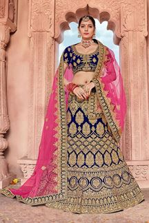 Picture of Blue & Pink Designer Bridal Wedding Wear Velvet Lehenga Choli
