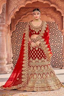 Picture of Designer Red Bridal Wedding Wear Velvet Lehenga Choli