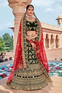 Picture of Green & Red Designer Bridal Wedding Wear Velvet Lehenga Choli
