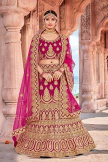 Picture of Rani Pink Designer Bridal Wedding Wear Velvet Lehenga Choli