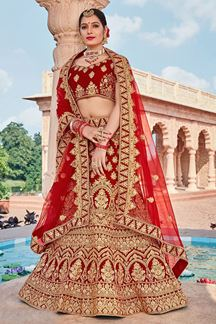 Picture of Designer Maroon Bridal Wedding Wear Velvet Lehenga Choli