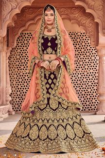 Picture of Wine & Peach Designer Bridal Wedding Wear Velvet Lehenga Choli