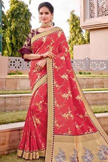 Picture of Epitome Pink & Wine Color Traditional Silk Saree