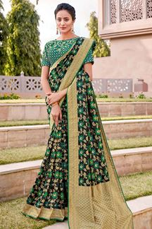 Picture of Adorned Black & Green Color Traditional Silk Saree