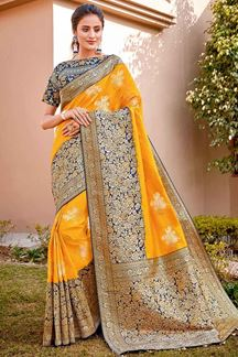 Picture of Beautiful Yellow & Blue Color Traditional Silk Saree