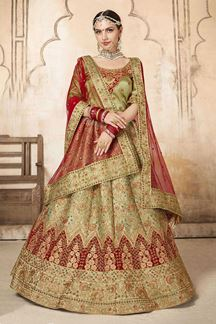 Picture of Excellent Green and Red Designer Bridal Lehenga Choli