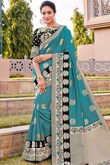 Picture of Contemporary Black & Rama blue Color Traditional Silk Saree
