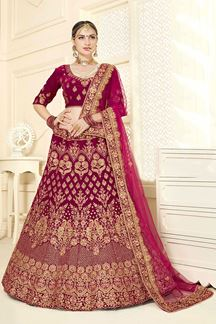 Picture of Flattering Peach & Red Designer Bridal Lehenga Choli