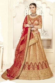 Picture of Marvellous Off- White & Red Designer Bridal Lehenga Choli