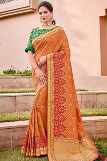 Picture of Excellent Orange & Green Color Traditional Silk Saree